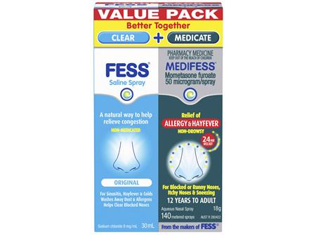 FESS Saline Spray and MEDIFESS Aqueous Nasal Spray Value Pack 2 Pack