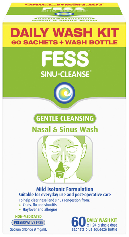 FESS Sinu-Cleanse Gentle Cleansing Daily Wash Kit 60 Pack