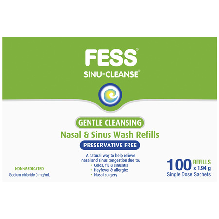FESS Sinu-Cleanse Gentle Cleansing Wash Kit Refills 100 x 1.94g