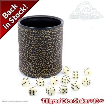 Filigree Dice Shaker Back in Stock