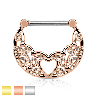 Filigree w/ Hollow Heart Center Nipple Clickers