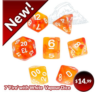 Fire with White Vapour Polyhedral Dice