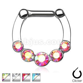 Five Gems 316L Surgical Steel Bar Septum Clicker