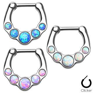 Five Opal Gems set  Septum Clicker Ring