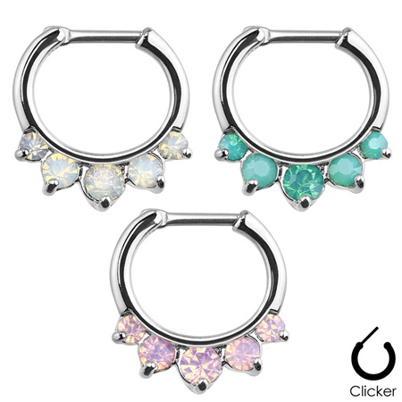 Five Pronged Opalites 316L Surgical Steel Septum Clicker