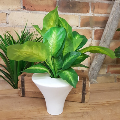 Flat Top Cone Vase White Ceramic