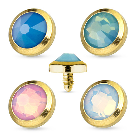 Flat Top Opalite Gem Gold IP 316L Surgical Steel Dermal Anchor Top