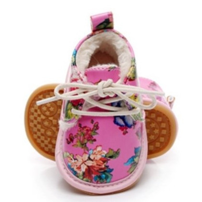 Fleece Lace Up Shoes - Floral Pink