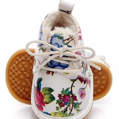 Fleece Lace Up Shoes - Floral White