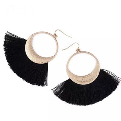 Flola Fringe Hoop Earrings - Licorice
