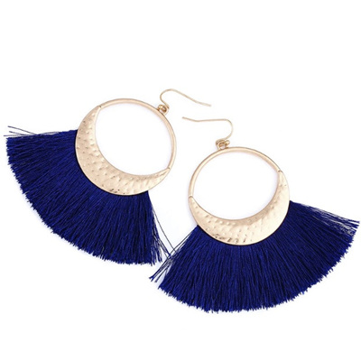 Flola Fringe Hoop Earrings - Navy