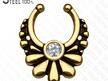 Floral CZ Gem Faux Septum Ring
