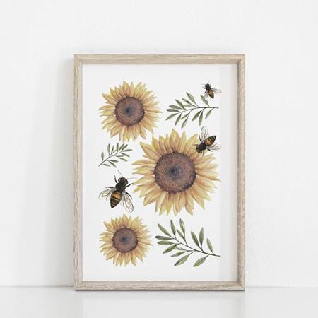 Floral & Fern Sunflowers Art Print A3