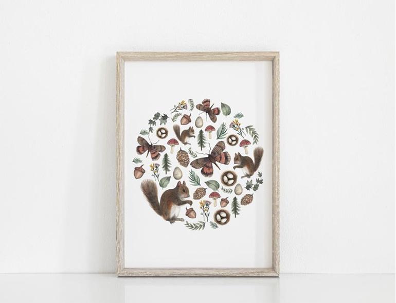 Floral & Fern Woodland Circle Art Print A3