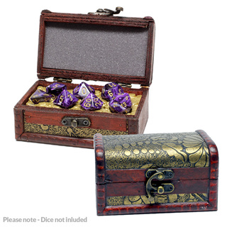 Small Floral Dice Chest with 7 Polyhedral Dice Insert