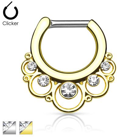 Floral Round w/ Gems  Surgical Steel Septum Clicker