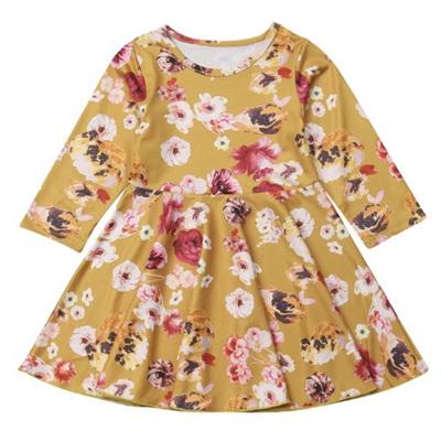 Floral Skater Dress - Mustard
