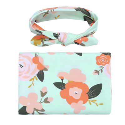 Floral Wrap & Headband Set - Mint