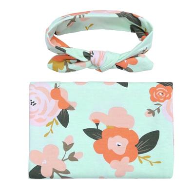 Floral Wrap & Headband Set - Mint