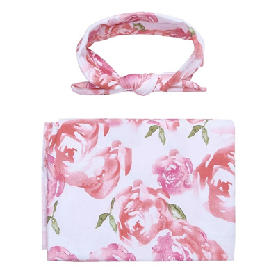Floral Wrap & Headband Set - Pink