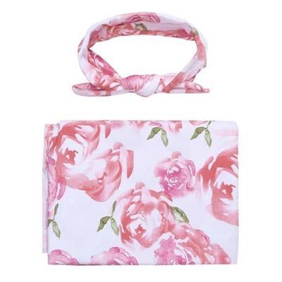 Floral Wrap & Headband Set - Pink