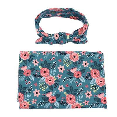 Floral Wrap & Headband Set - Teal