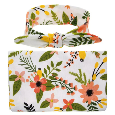 Floral Wrap & Headband Set - White