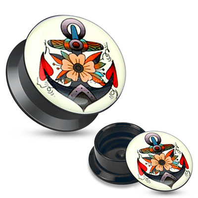 Flower Anchor Black Acrylic Stash Screw Fit Plug