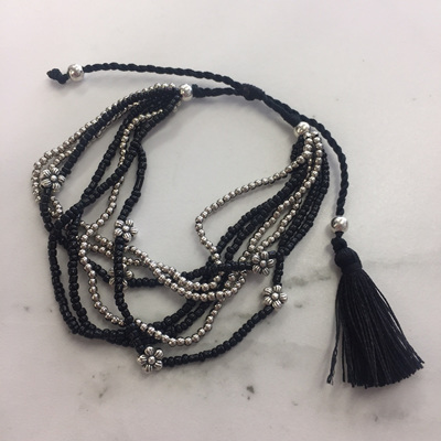 Flower Bead Bracelet - Midnight Black