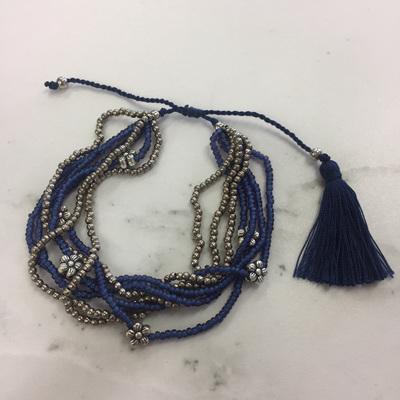 Flower Bead Bracelet - Royal Blue