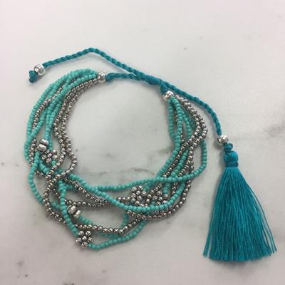 Flower Bead Bracelet - Turquoise
