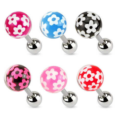 Flower Print Epoxy Ball Barbells - 2 Sizes