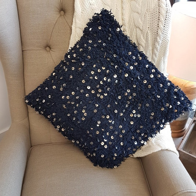 Fluffy Navy Cushion w Sequins - Large