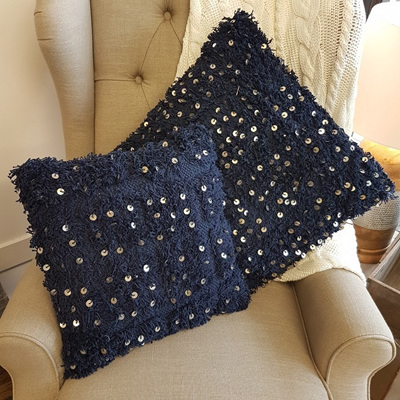Fluffy Navy Cushion w Sequins - Small