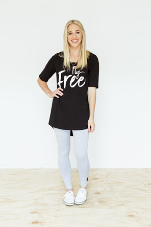 Fly Free TShirt White on Black Size 10