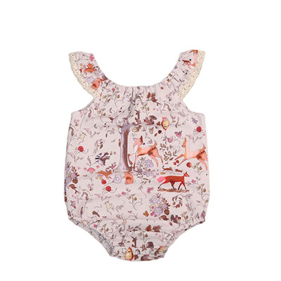 Forest Friends Lace Edge Romper