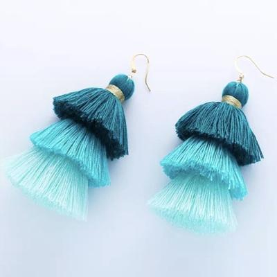 Fox Tail Tassel Earrings - Mint Sorbet