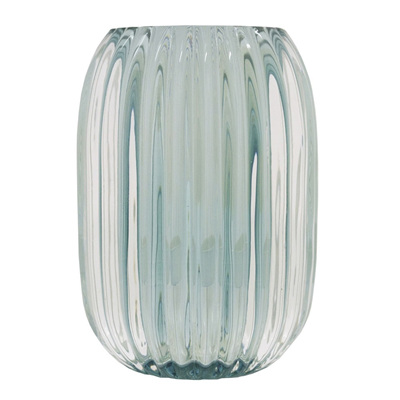Frosted Glass Tea Light Holder- Aqua