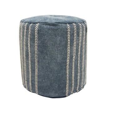 Gais Cotton Round Pouf - Blue And Cream 40x40x40cm