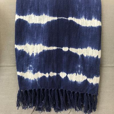Galan Slub Cotton Throw - Blue & White 125x150cm