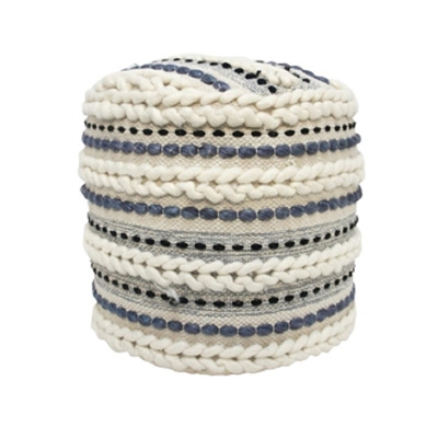 Galea Round Pouf - Blue & Cream