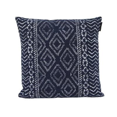 Galen Printed Cotton Cushion - Blue & White - 45x45cmh