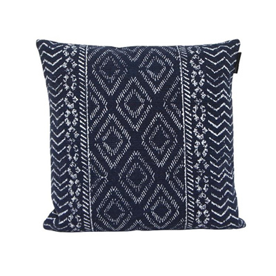 Galen Printed Cotton Cushion - Blue & White - 45x45cmh