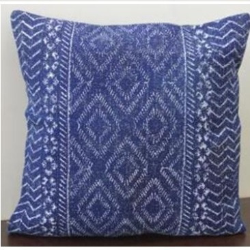 Galen Printed Cotton Cushion - Blue & White 55x55cm