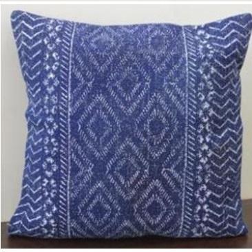 Galen Printed Cotton Cushion - Blue & White 55x55cm