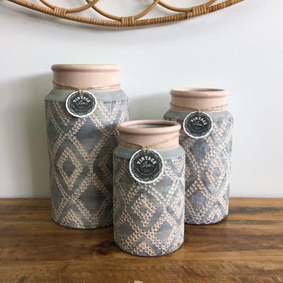 Garin Ceramic Vase - Coral & Grey