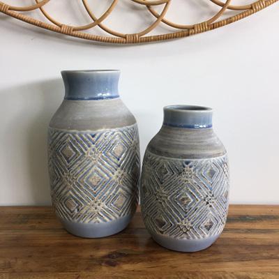 Garlen Ceramic Vase - Blue & Grey Diamond