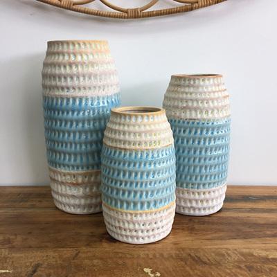 Garon Ceramic Vase - Cream & Blue