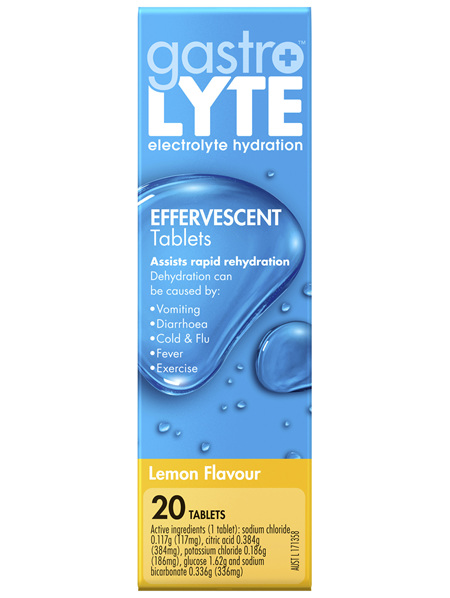 Gastrolyte Electrolyte Hydration Effervescent Tablets Lemon