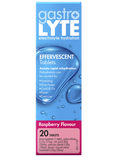 Gastrolyte Electrolyte Hydration Effervescent Tablets Rasberry